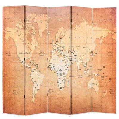 Kamerscherm inklapbaar wereldkaart 200x170 cm geel