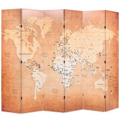 Kamerscherm inklapbaar wereldkaart 228x170 cm geel