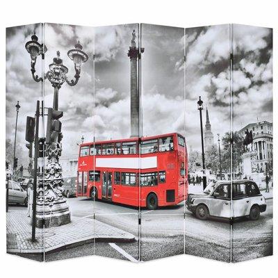 Kamerscherm inklapbaar Londen bus 228x170 cm zwart en wit