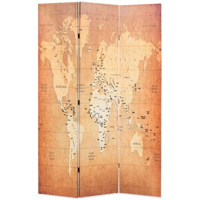 Kamerscherm inklapbaar wereldkaart 120x170 cm geel