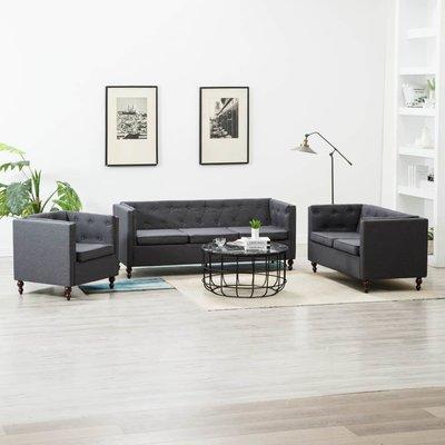 Bankstel Chesterfield-stijl stoffen bekleding donkergrijs 3-delig