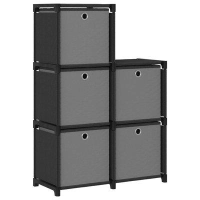 Kast met 5 vakken met boxen 103x30x72,5 cm stof zwart