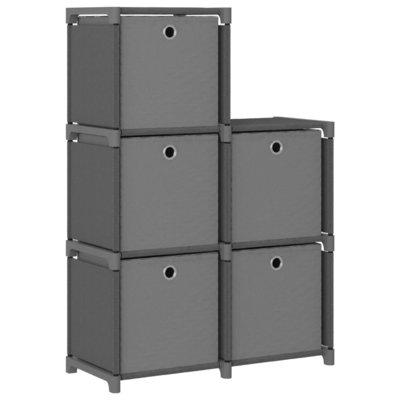 Kast met 5 vakken met boxen 103x30x72,5 cm stof grijs