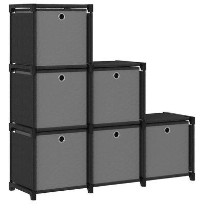 Kast met 6 vakken met boxen 103x30x72,5 cm stof zwart