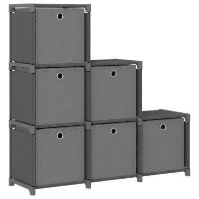 Kast met 6 vakken met boxen 103x30x72,5 cm stof grijs