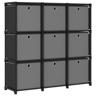 Kast met 9 vakken met boxen 103x30x107,5 cm stof zwart