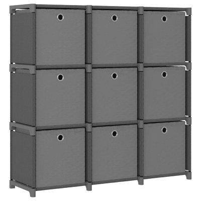 Kast met 9 vakken met boxen 103x30x107,5 cm stof grijs