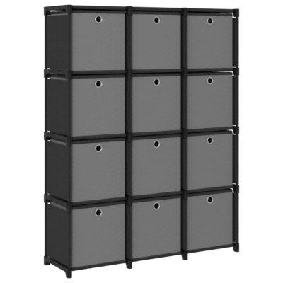 Kast met 12 vakken met boxen 103x30x141 cm stof zwart