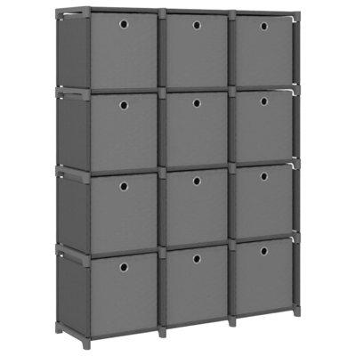 Kast met 12 vakken met boxen 103x30x141 cm stof grijs