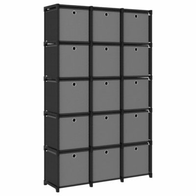 Kast met 15 vakken met boxen 103x30x175,5 cm stof zwart