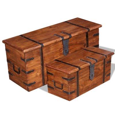 2-delige Opbergkistenset massief hout