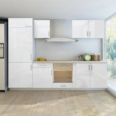 Keukenkastenset inbouwkoelkast 270 cm hoogglans wit 7-delig