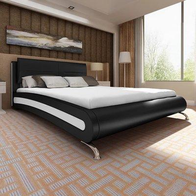 Bed met matras kunstleer wit en zwart 140x200 cm