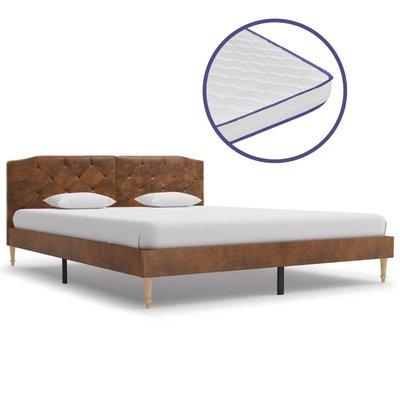 Bed met traagschuim matras kunstsuède 160x200 cm