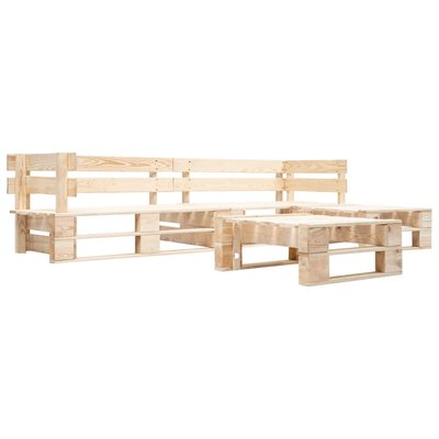 4-delige Loungeset pallet hout naturel