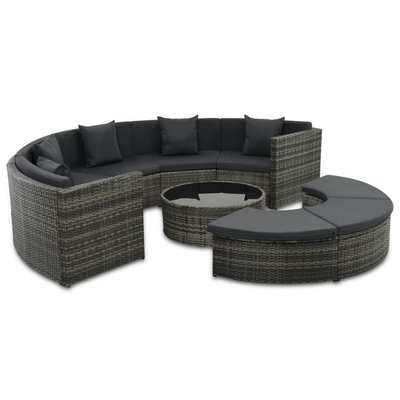 7-delige Loungeset met kussens poly rattan grijs