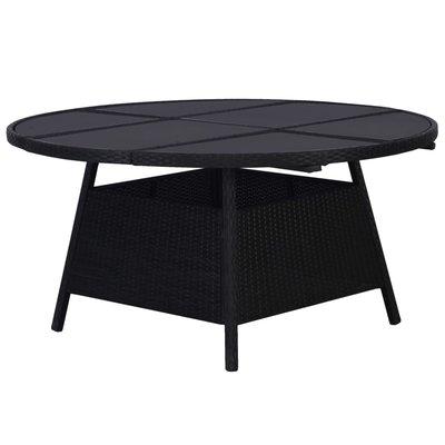 Tuintafel 150x74 cm poly rattan zwart