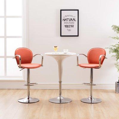 Barkrukken met armleuning 2 st kunstleer oranje