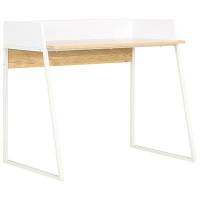 Bureau 90x60x88 cm wit en eikenkleurig