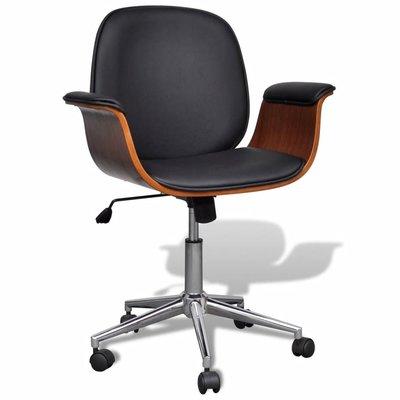 Bureaustoel draaibaar gebogen hout en kunstleer