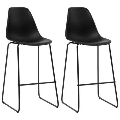 Barstoelen 2 st kunststof zwart