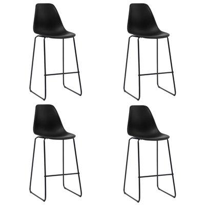 Barstoelen 4 st kunststof zwart
