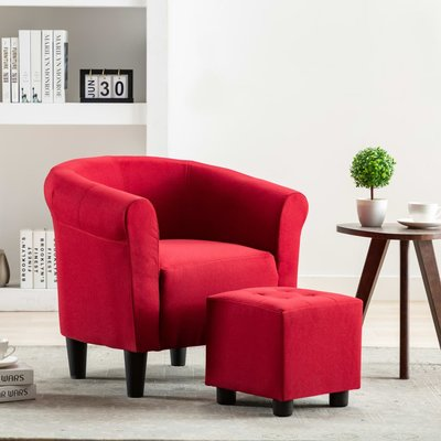 Fauteuil stof wijnrood
