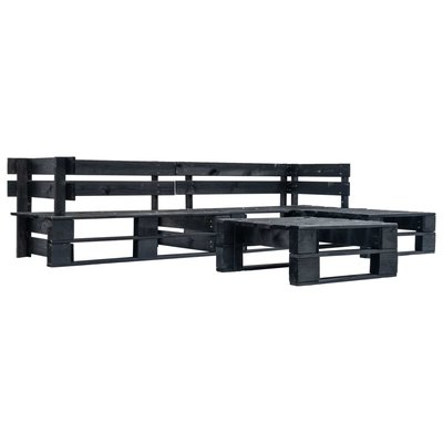 4-delige Loungeset pallet hout zwart