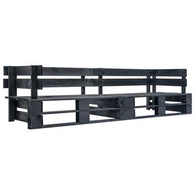Tuinbank 2-zits pallet hout zwart
