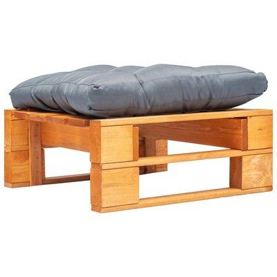 Tuinpoef met grijs kussen pallet hout honingbruin