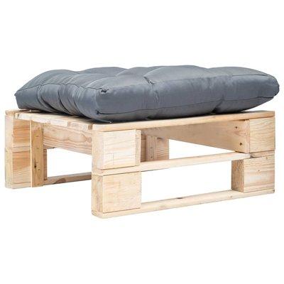 Tuinpoef met grijs kussen pallet hout naturel