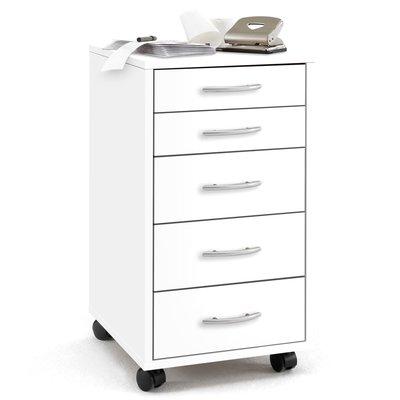 FMD Ladekast met 5 lades verplaatsbaar wit