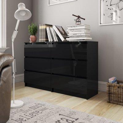 Dressoir 120x35x76 cm spaanplaat hoogglans zwart