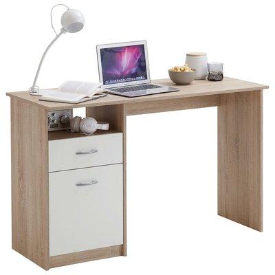 FMD Bureau met 1 lade 123x50x76,5 cm eikenkleurig en wit