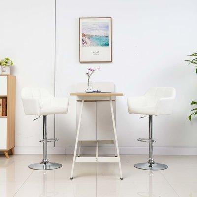 Barstoelen 2 st met armleuning kunstleer wit