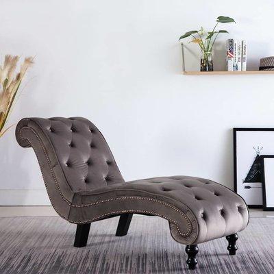 Chaise longue fluweel grijs