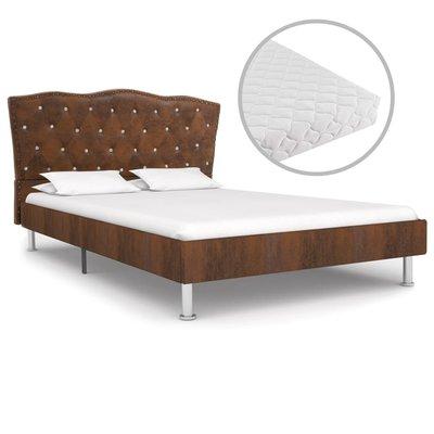 Bed met matras stof bruin 120x200 cm