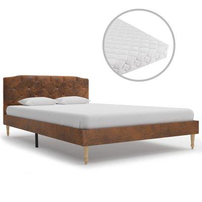 Bed met matras kunstsuède bruin 120x200 cm