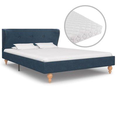 Bed met matras stof blauw 120x200 cm