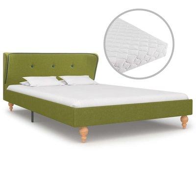 Bed met matras stof groen 120x200 cm