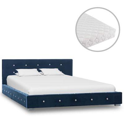 Bed met matras fluweel blauw 120x200 cm
