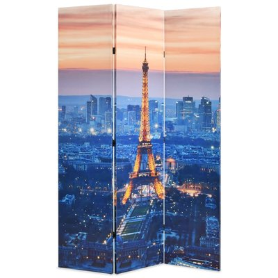 Kamerscherm inklapbaar Parijs bij nacht 120x170 cm