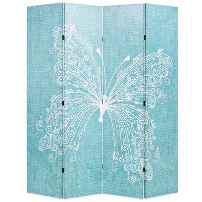 Kamerscherm inklapbaar vlinder 160x170 cm blauw