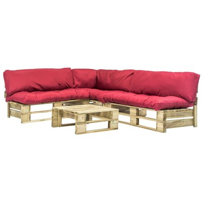 4-delige Loungeset pallet met rode kussens hout