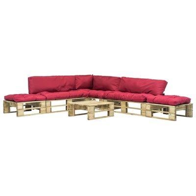 6-delige Loungeset pallet met rode kussens hout