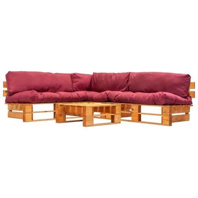 4-delige Loungeset pallets met rode kussens hout