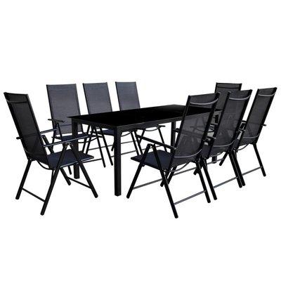 9-delige Tuinset inklapbaar aluminium zwart