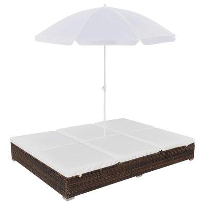 Loungebed met parasol poly rattan bruin