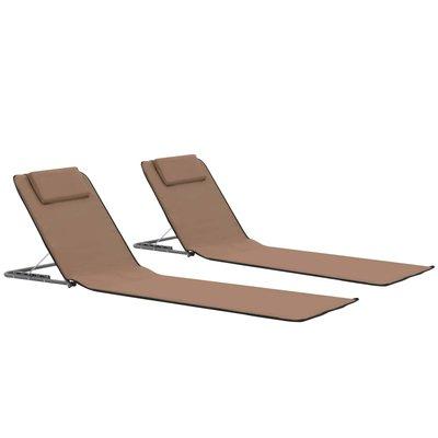 Strandmatten inklapbaar 2 st staal en stof bruin