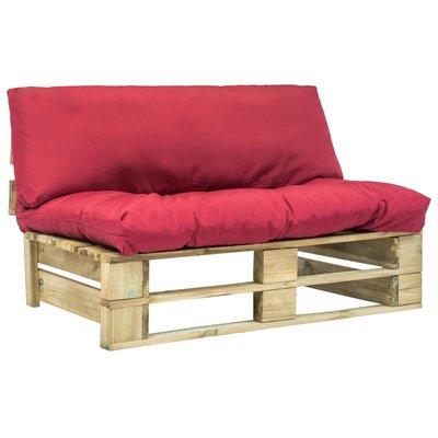Tuinbank met rode kussens pallet grenenhout